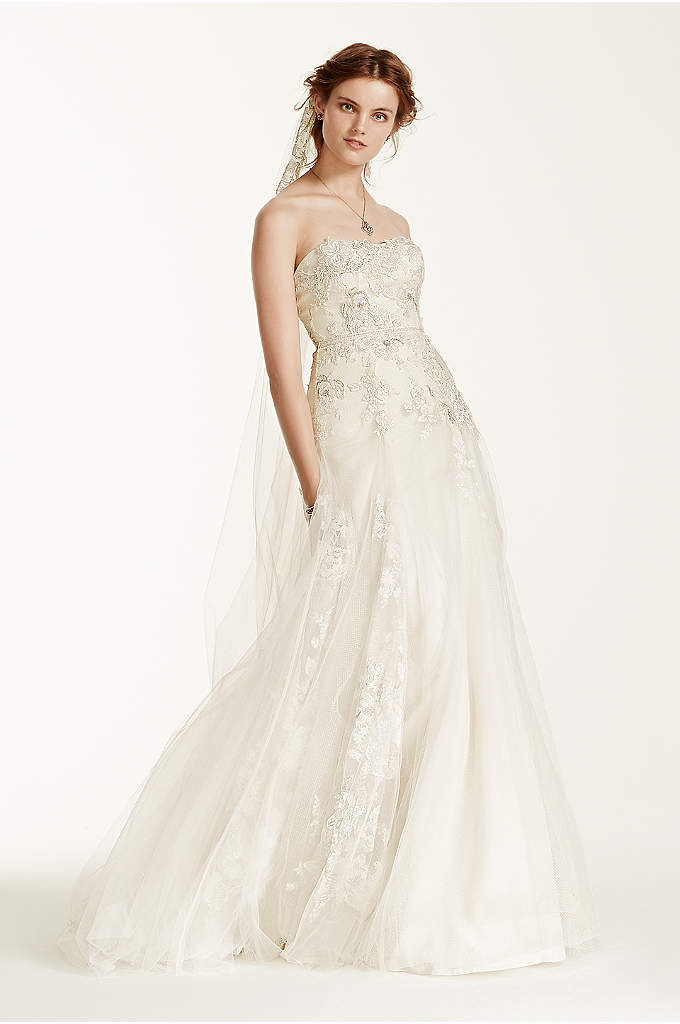 As-Is Tulle Wedding Dress with 3D Flowers - With it's ethereal and bohemian charm, this 3D