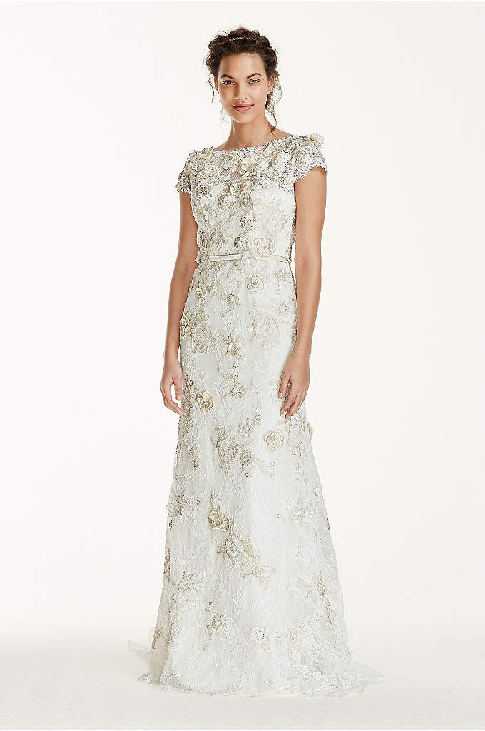 As-Is 3D Cap Sleeve Wedding Dress - Cascade down the aisle like a bohemian dream
