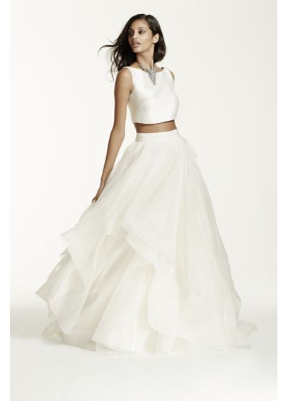 Two-Piece Mikado Crop Top Ball Gown  AI26010060