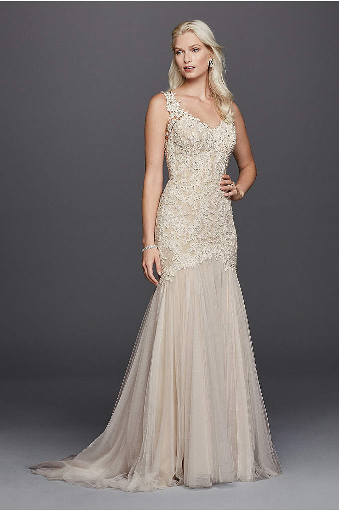 As-Is Beaded Venice Lace Trumpet Wedding Dress - It can't get more romantic than this trumpet
