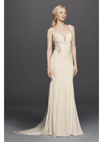 As is beaded wedding dress with illusion details davids bridal as is beaded wedding dress with illusion details junglespirit Choice Image