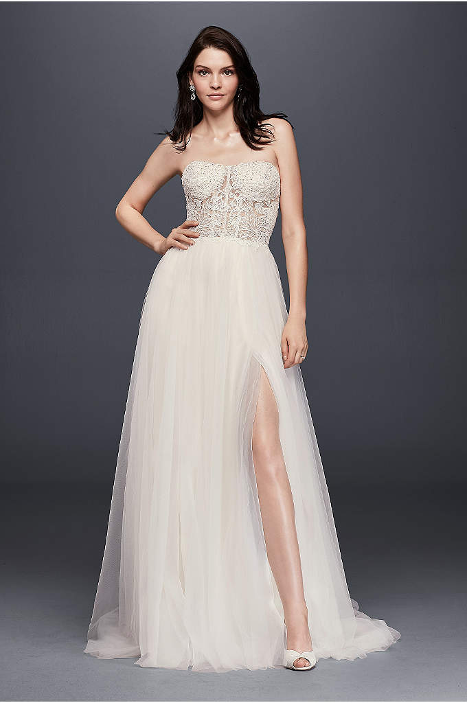 Lace appliqued tulle a line petite wedding dress david 39 s for Davids bridal beach wedding dresses
