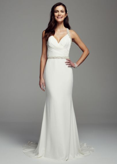 Halter Chiffon Sheath Gown with Beaded Straps AI26020084