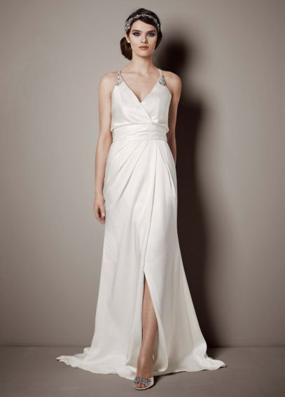 Double Faced Satin Gown with Front Slit Detail AI26020086