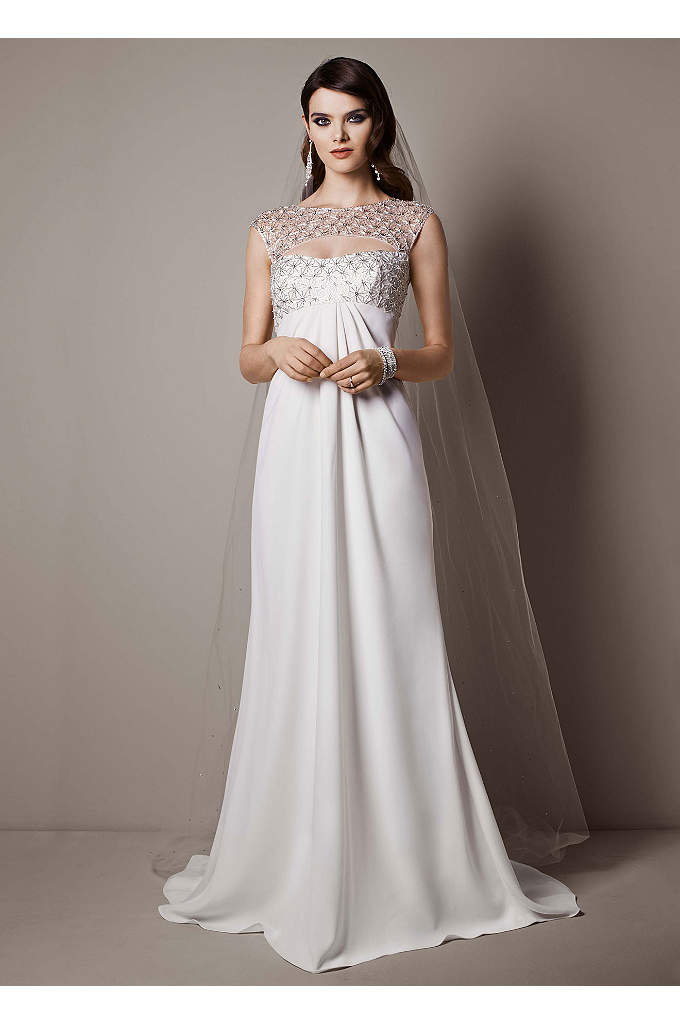 Sequin Tulle Petite Ball Gown with Tiered Skirt | David\'s Bridal