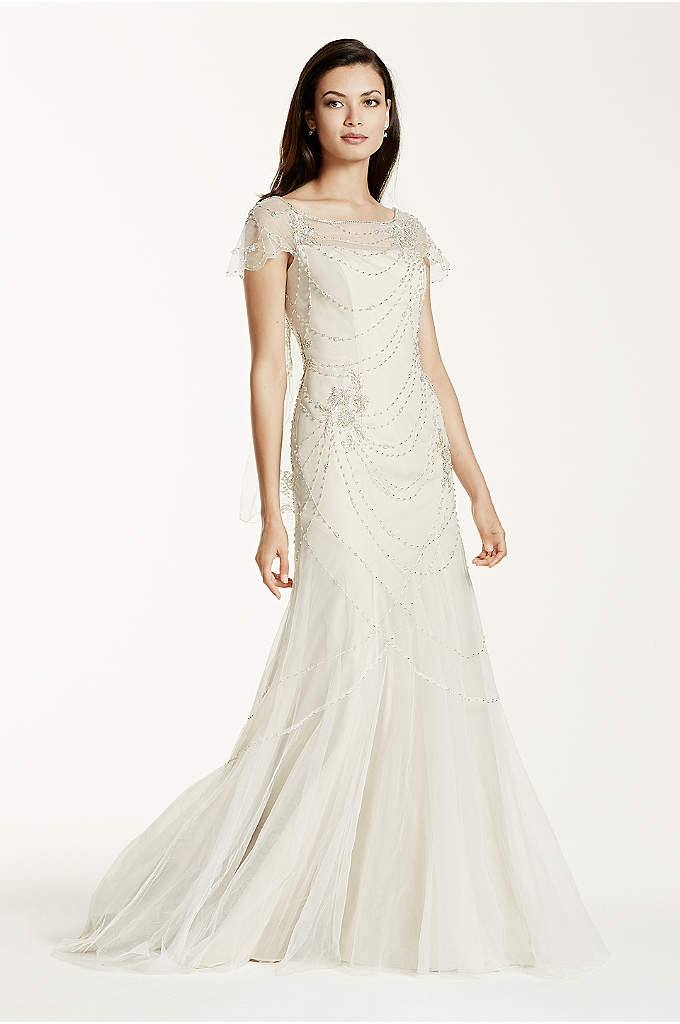 As-Is Short Sleeve Tulle Sheath Gown - Feminine decadence defines this vintage Gatsby inspired cap