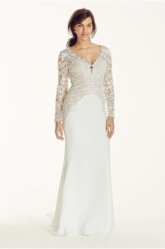 As-Is Long Sleeve Beaded Lace Plunge Neckline Gown - For a dramatic and captivating walk down the