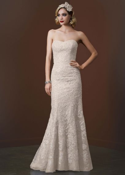 Strapless Trumpet Sequin Gown with Gold Lace AI26030064