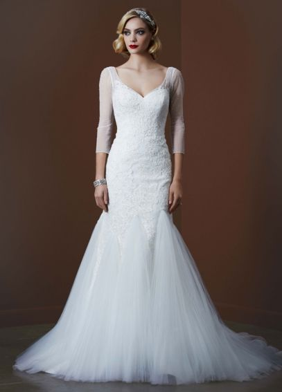 3/4 Sleeve Lace Trumpet Gown with Godet Skirt  AI26030068