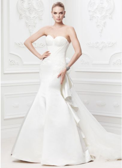 Truly zac posen strapless satin wedding dress davids bridal for Zac posen wedding dresses sale