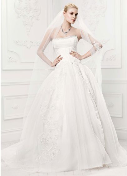 Truly zac posen tulle wedding dress with draping david 39 s for Zac posen wedding dresses sale