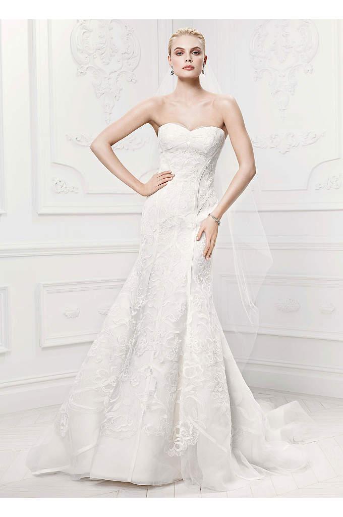 As-Is Satin Details Tulle Mermaid Wedding Dress - Chic elegance is captured in this figure flattering