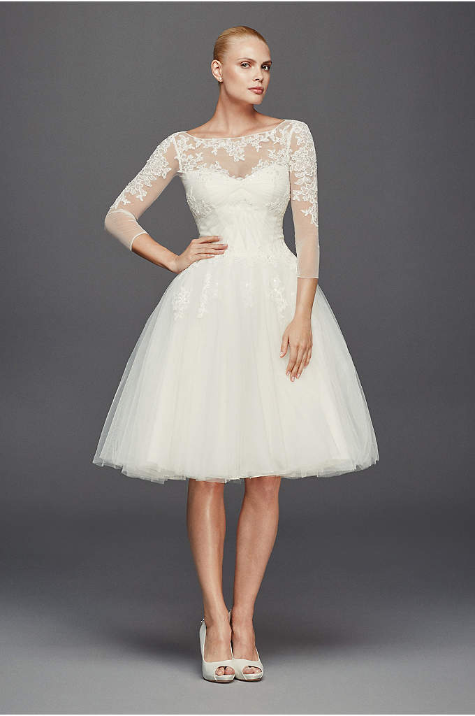 As-Is 3/4 Sleeve Short Tulle Wedding Dress - Inspired by 1950s couture, this short tulle wedding