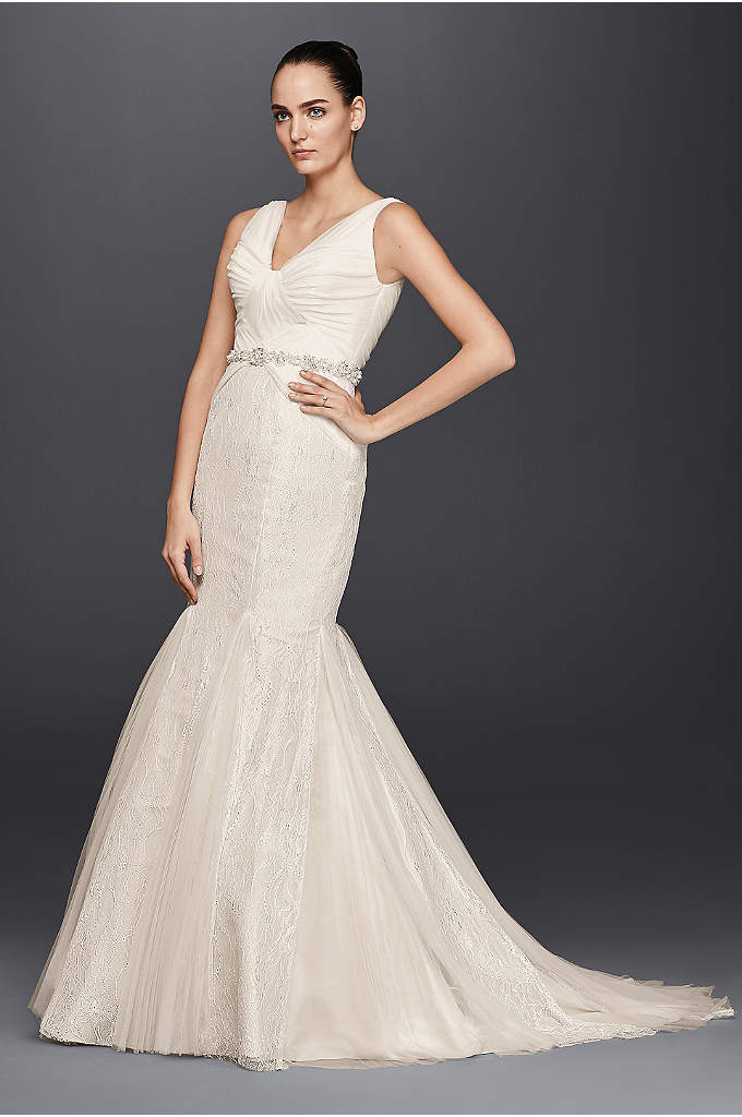 As-Is Pleated Mermaid Wedding Dres - Pretty gathering radiates from the V-neckline of this