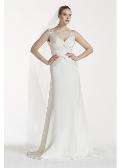 Truly Zac Posen Ruched V-Neck Satin Wedding Dress AI34020002