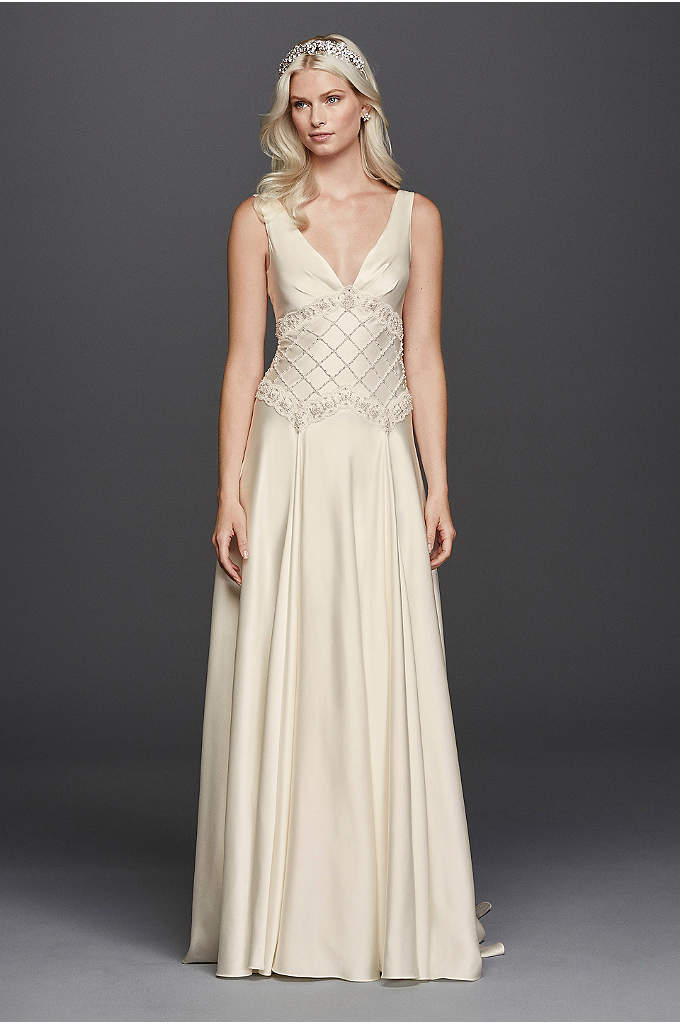As-Is Satin Lattice Bodice V-Neck Wedding Dress - This gorgeous drop waist wedding dress is full
