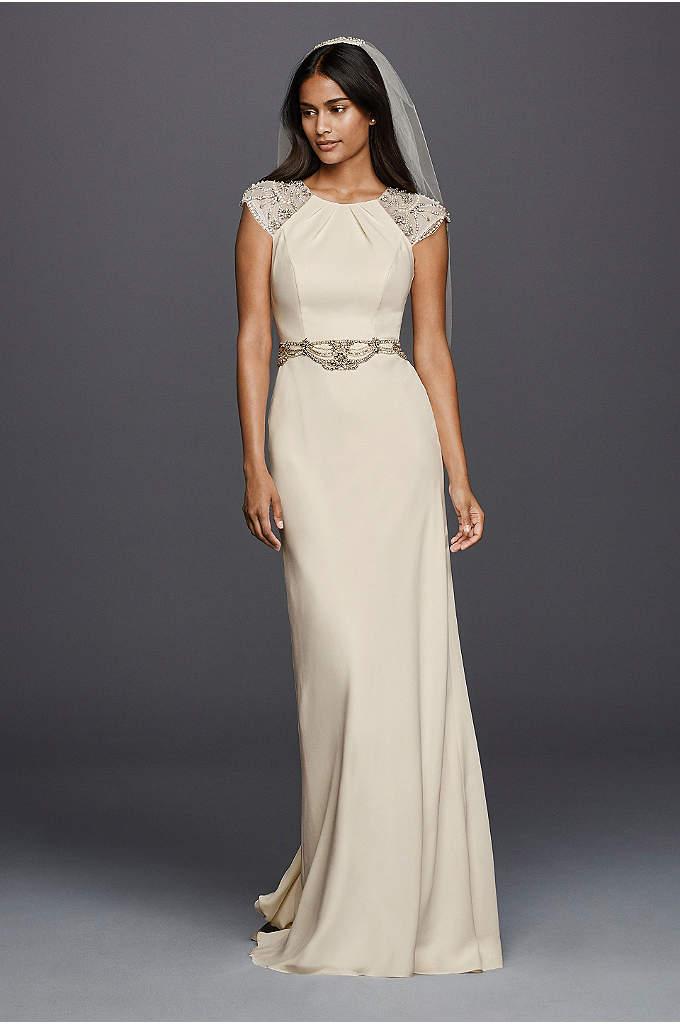 As-Is Cap Sleeved Crepe Sheath Wedding Dress - This crepe sheath wedding dress epitomizes the grace