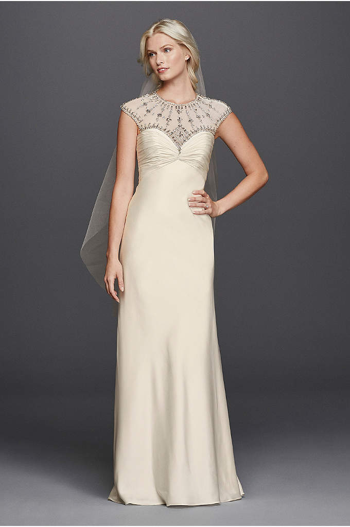 As-Is Illusion Cap Sleeve Beaded Wedding Dress - This matte charmeuse, a-line gown is a beauty!