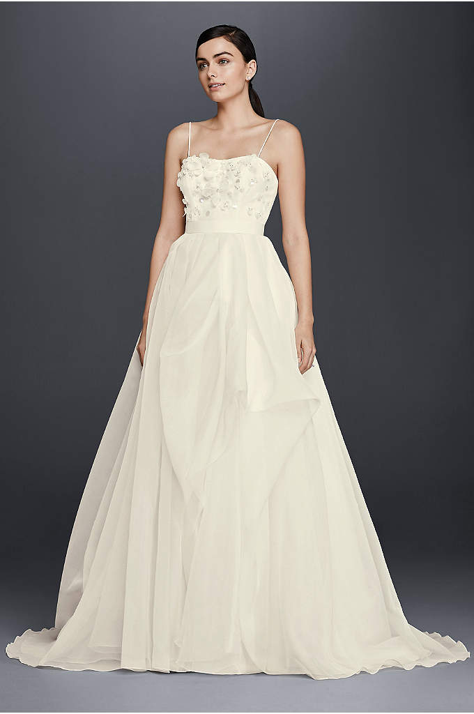 As-Is Floral Bodice Organza A-Line Wedding Dress - This lightweight organza wedding dress takes a flirty
