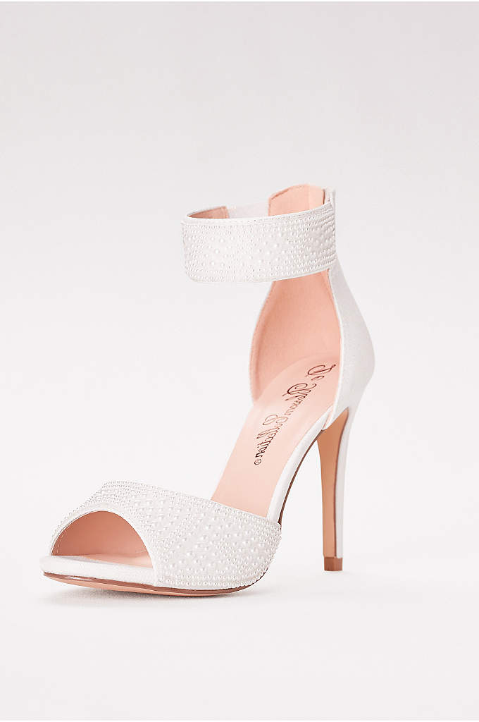 High Heel Pearl-Embellished Peep Toe Sandals - Put your best foot forward in a sophisticated