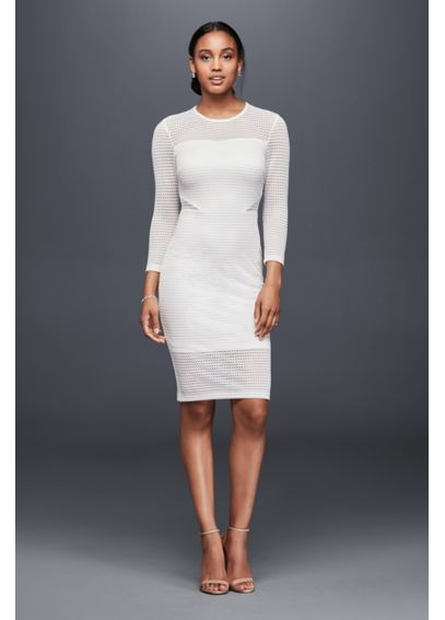 Illusion Jersey Sheath Dress with Side Details AJ325
