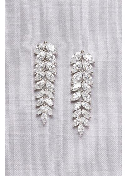 Cubic Zirconia Leaf Drop Earrings - Wedding Accessories