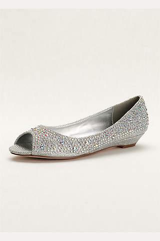Zapatos Bajos de Dedo Descubierto Con Cristales AB