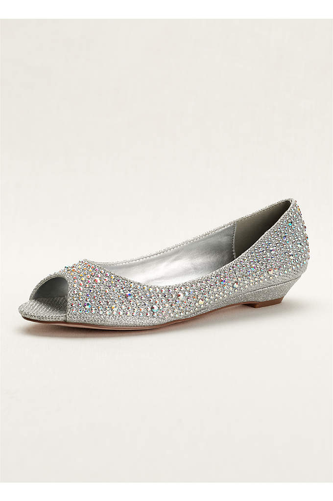 Low Wedge Peep Toe with AB Crystals - Add a little sparkle and shine to your