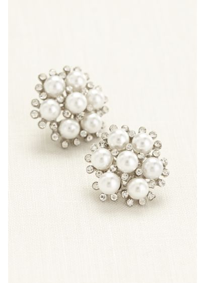 Pearl and Crystal Cluster Button Earrings - Wedding Accessories