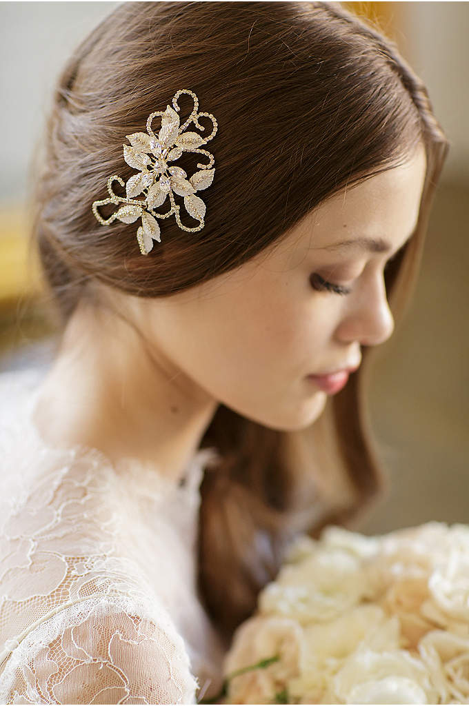 Hand-Wired Floral Comb with Swarovski Crystals - This delicate, hand-wired hair comb features painted leaves