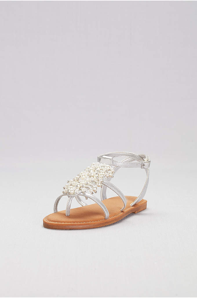 Dangling Pearl Strappy Flat Sandals - A gorgeous cluster of dangling pearls and crystals
