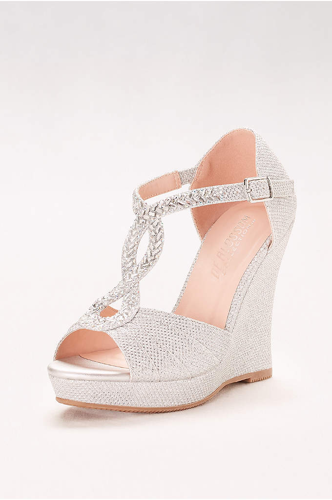 Crystal-Embellished T-Strap Glitter Wedges - Crystal-detailed T-strap wedges go from formal gown to