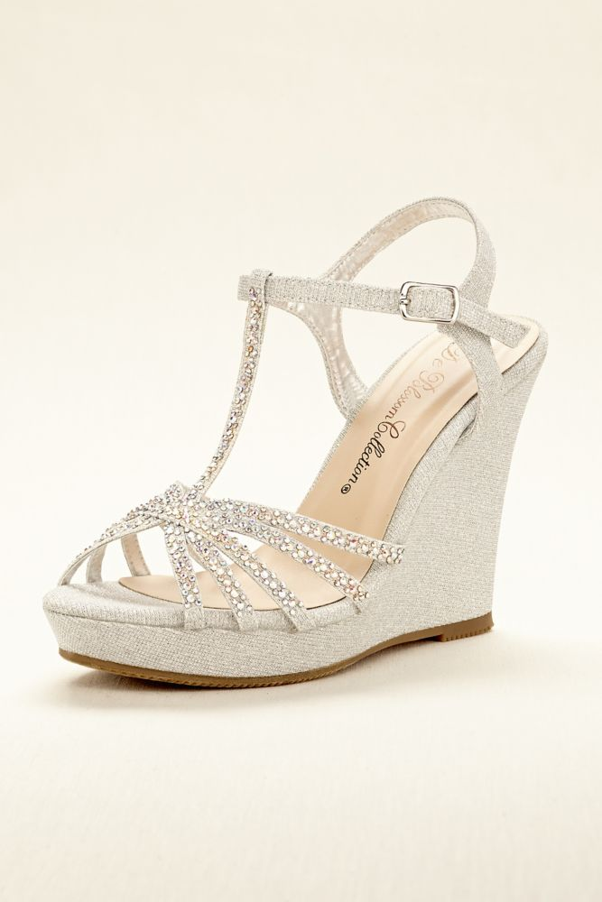 Wedding Bridesmaid Shoes High Heel T Strap Wedge Sandal Style ALINA11