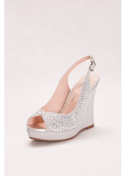 Glitter and Crystal Slingback Peep-Toe Wedge ALINA48