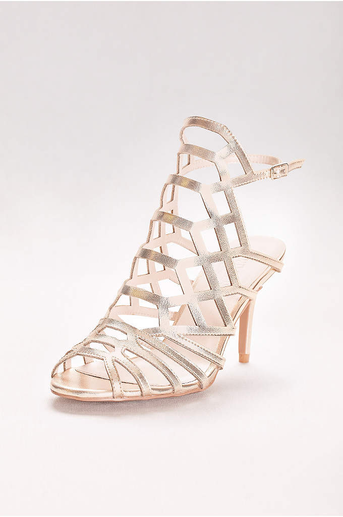 Metallic Caged Heels - These metallic heels are a glammed-up take on