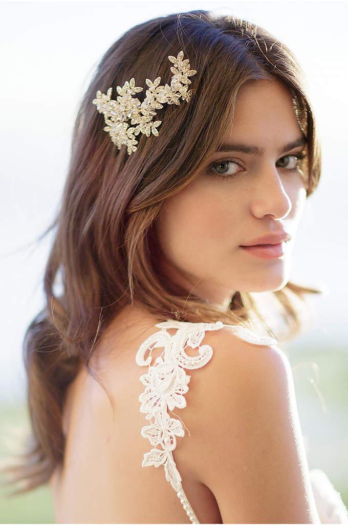 Crystal Laurel Barrette - An elegant hair clip, clustered with crystal leaves