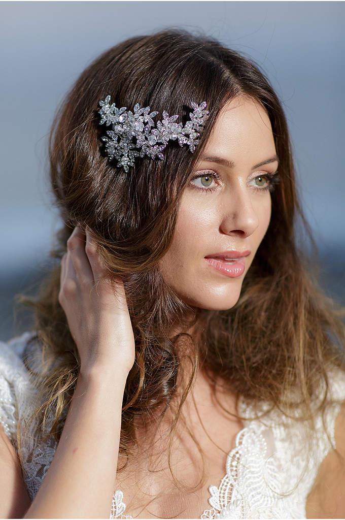 Crystal Laurel Barrette - An elegant hair clip, clustered with crystal leaves