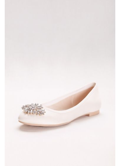 David's Bridal Ivory (Satin Ballet Flat with Ornament)