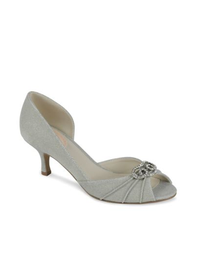 Pink Paradox Blue (Satin D'Orsay Peep Toe Low Heels with Crystal)