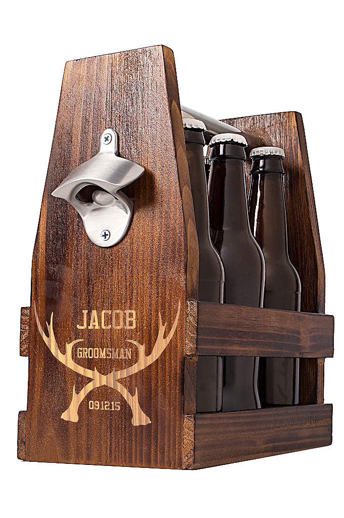 Personalized Antlers Craft Beer Holder - Match up each of your groomsmen with his