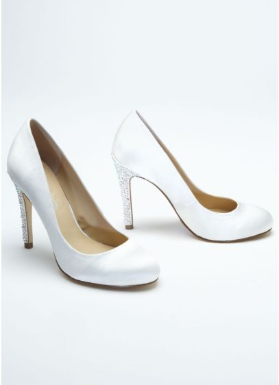 White (Round Toe Pump with Crystal High Heel)