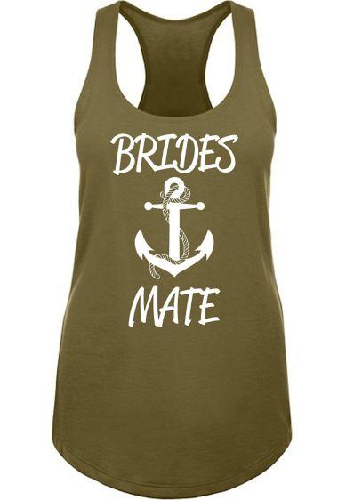 Anchor Motif Brides Mate Racerback Tank Top - Wedding Gifts & Decorations