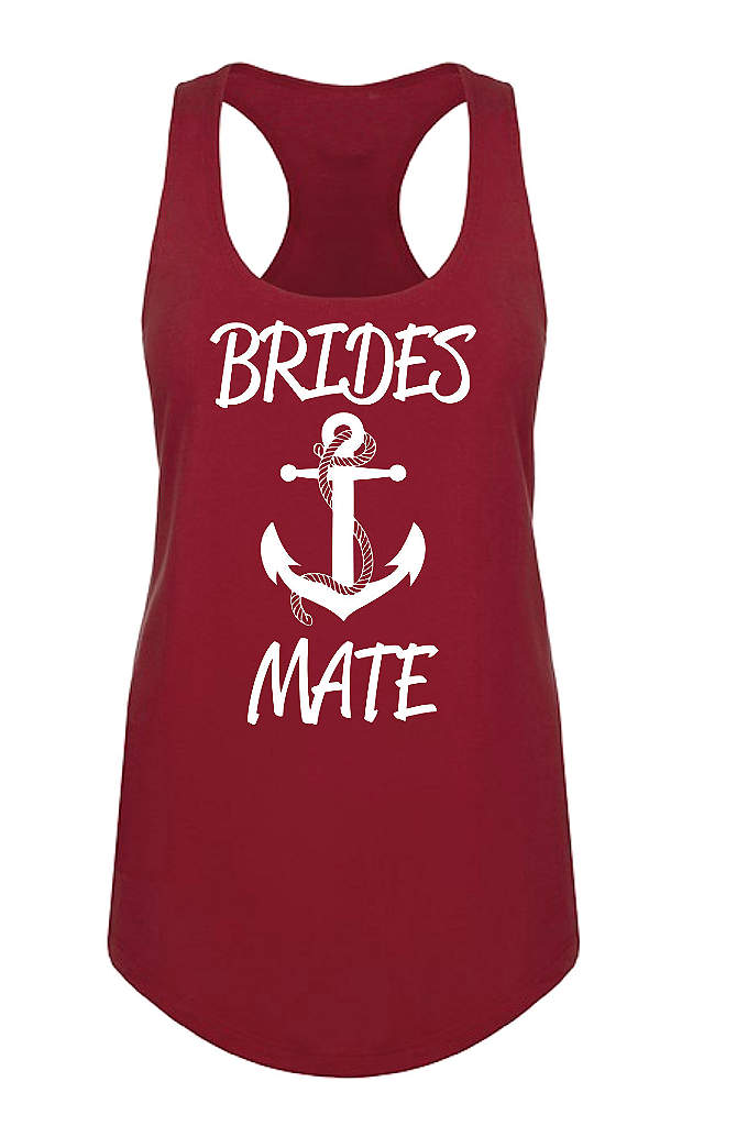 Anchor Motif Brides Mate Racerback Tank Top - Set sail toward the wedding day with this