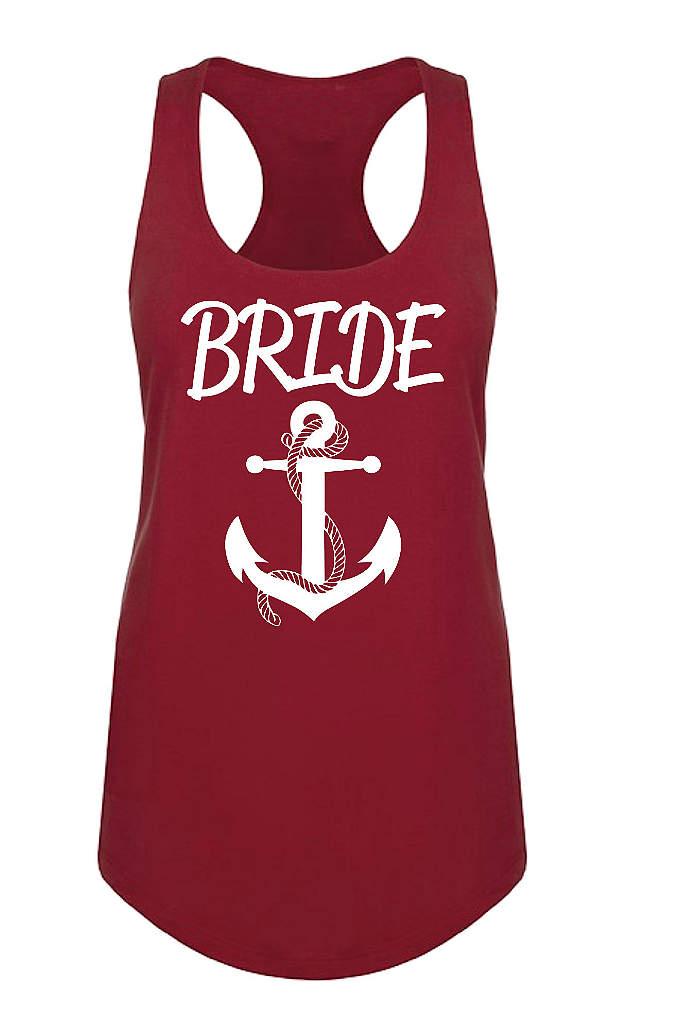 Anchor Motif Bride Racerback Tank Top - Set sail toward the wedding day with this