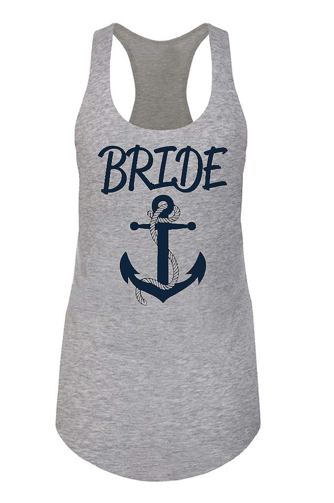 Anchor Motif Bride Racerback Tank Top - Set sail toward the wedding day with this