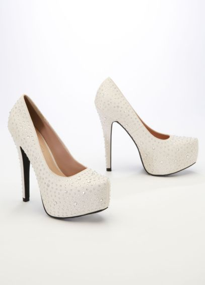 Crepe Platform Pump with Flatback Crystals ANELSON2