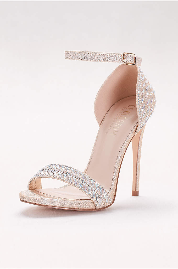 Metallic Ankle-Strap Sandals with Iridescent Gems - Studded with tiny stones and curvy beads, this