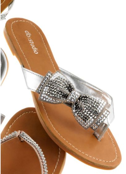 Grey (Metallic Flip Flop with Crystal Bow)
