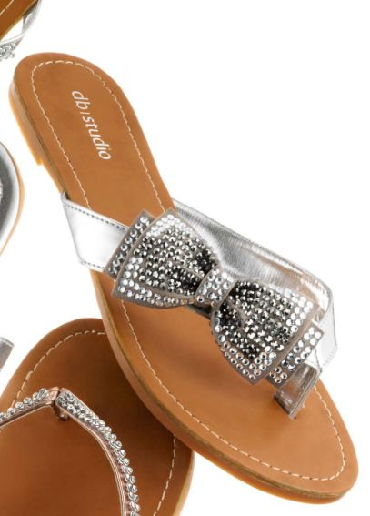 Metallic Flip Flop with Crystal Bow ANNABEL