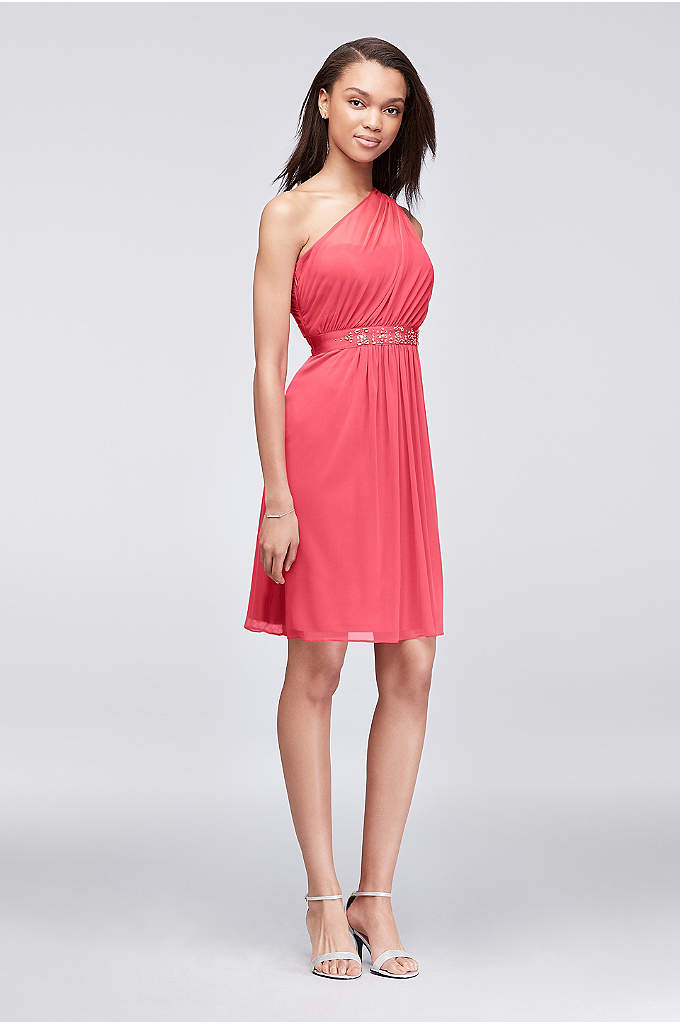 One-Shoulder Mesh Bridesmaid Dress with Beading - Featuring a side-swept one-shoulder neckline, this light and